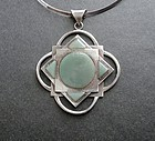 Vintage Modernist Cecilia Tono Large Cross Sterling Stone Pendant