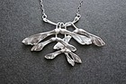 Vintage Sterling Silver Maple Seeds Pendant Necklace