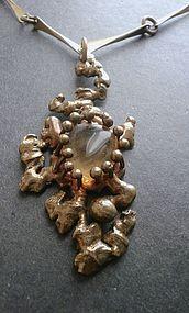 Vintage Hand Made Bronze Art Glass Pendant Necklace Brutalist