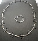 Sterling Studio Hand Wrought Modernist Necklace Bracelet Set