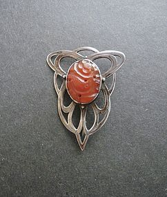 Vintage Arts and Crafts Carved Carnelian Silver Brooch Signed ES