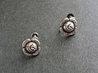 Vintage Georg Jensen GI Mark Denmark Sterling Silver Rose Earrings 85