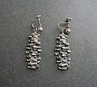 Vintage Gilles Guy Vidal Pewter Modernist Screw Back Earrings