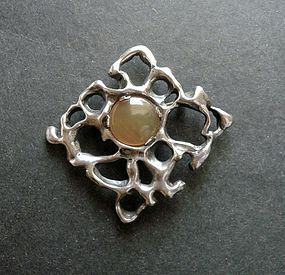 Vintage Heavy Sterling Modernist Brooch Art Glass Hand Made