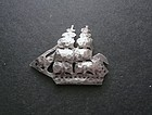 Franklin Porter Mass. Sterling Ship Brig Leander Brooch Arts Crafts