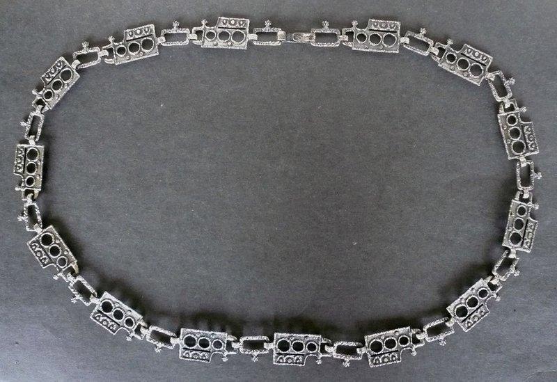 Vintage Gilles Guy Vidal Plated Pewter Modernist Belt Necklace
