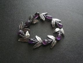 Vintage Early Mexican Sterling Silver Amethyst Bracelet Pre Eagle