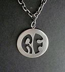Sterling Silver Modernist Allan Adler Pendant and Heavy Chain