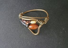 Vintage Hand Crafted Bracelet Hammered Brass Beads Modernist