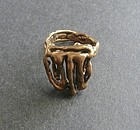 Hand Made Modernist Brutalist Ring Size 8 Bronze Brass