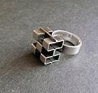 Elis Kauppi Kupittaan Kulta Modernist Cube Sterling Ring Finland