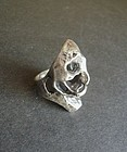 Vintage Brutalist Sterling Ring Modernist Size 8 Heavy
