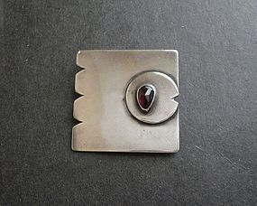 Sam Kramer Modernist Sterling Silver Fish Brooch with Amethyst Eye