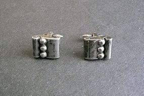 Vintage Hector Aguilar Taxco Sterling 940 Cufflinks Scroll Beads