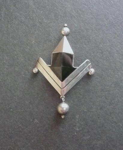 William Spratling Faceted Obsidian Arrow Brooch Sterling Vintage
