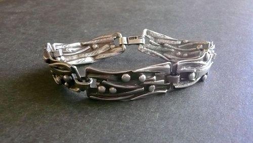 Sweden Modernist Sterling Bracelet Isaac Cohen Vintage 1950s