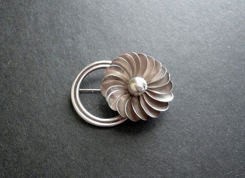 Georg Jensen USA Lapaglia Designed Sterling Brooch Hand Wrought