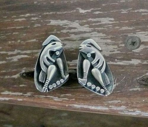 Vintage Salvador Teran Modernist Sterling Earrings Taxco Mexico Rare