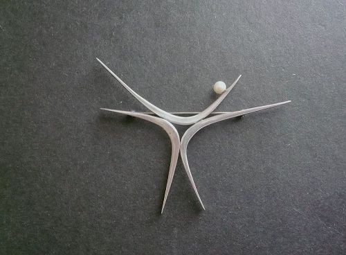 Sterling and Pearl Modernist Star Large Brooch Betty Cooke Style