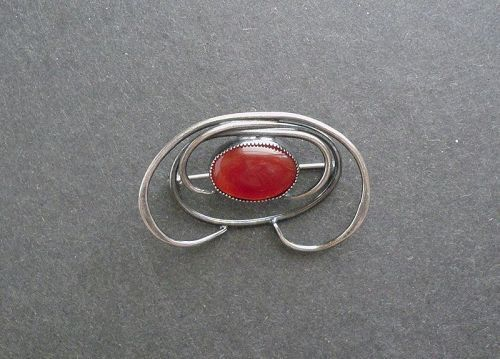 Vintage Signed Arts and Crafts Brooch Sterling Carnelian Masaniello JM