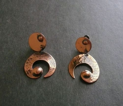 Vintage Modernist Winifred Mason Chenet Dangle Earrings Copper