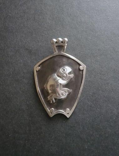 Vintage Modernist Miguel Taxco Frog Pendant Brooch Sterling JLF