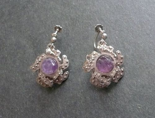 Norway Sylvsmidja Sterling Amethyst Earrings Vintage Screw Backs