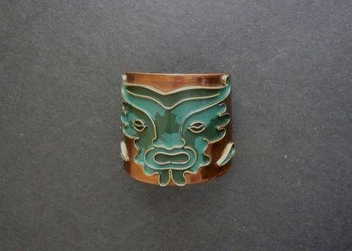 Vintage Casa Maya Mexico Toro Cuff Bracelet Enamel Copper Signed