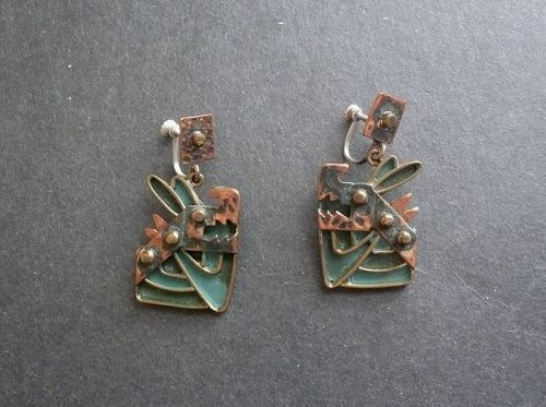 Vintage Casa Maya Whimsical Dogs Earrings Copper Enamel Mexico