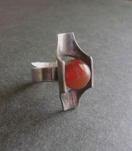 Kultaseppa Salovaara Sterling Modernist Ring Finland HKH