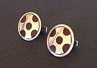 Large Vintage Taxco Mexican Silver and Wood Cuff Links