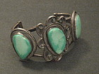 Massive Vintage Navajo Bracelet Three Stones