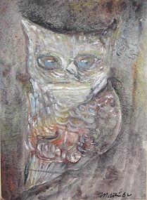 "JAMES MARTIN, ""SMILING OWL"", TEMPERA, 1962"