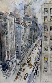 "ENIT KAUFMAN, ""NEW YORK STREET VIEW"", 1940S"