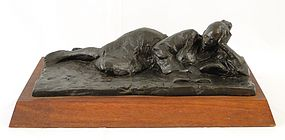 SIGMUND ABELES, RECLINING READER, BRONZE SCULPTURE