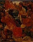 WILLEM VAN DEN BERG, FISHERMEN OF URK, OIL ON PANEL