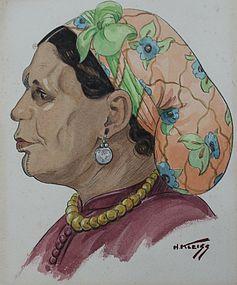 HANS KLEISS, PORTRAIT OF A BERBER WOMAN, MOROCCO