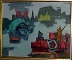 "JACOB KAINEN, ""BARGEMEN"", OIL ON BOARD, 1940S"
