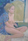 """JACK SCHNITZIUS """"GIRL WITH ROBE"""" ORIGINAL OIL ON CANVAS"""