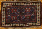 RARE ANTIQUE KURDISH BAGFACE AUBERGINE GROUND