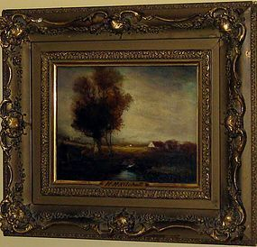 "HUDSON MINDELL KITCHELL ""TONALIST LANDSCAPE WITH FIGURE"