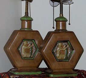 RARE LOUIS LOURIOUX PAIR OF ART DECO LAMPS