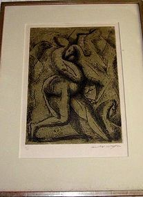 """ANDRE MASSON """"FEMME ATTAQUEE PAR DES OISEAUX"""",1947."""