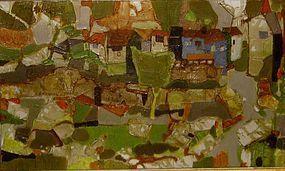 "YVON AUBINEL ""HAMEAU DE BOMPAS ARIEGE"" 1960"