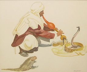 "PHILIP MOOSE ""SNAKE CHARMER"" ORIGINAL WATERCOLOR"