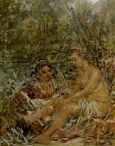 "MICHAEL SARISKY ""DAVID AND BATHSHEBA"" OIL ON PANEL"