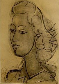 ANDRE MARCHAND PORTRAIT OF A WOMAN SIGNED CHARCOAL