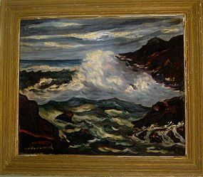 GUY DE BOUTHILLIER-CHAVIGNY ORIGINAL SEASCAPE ON CANVAS