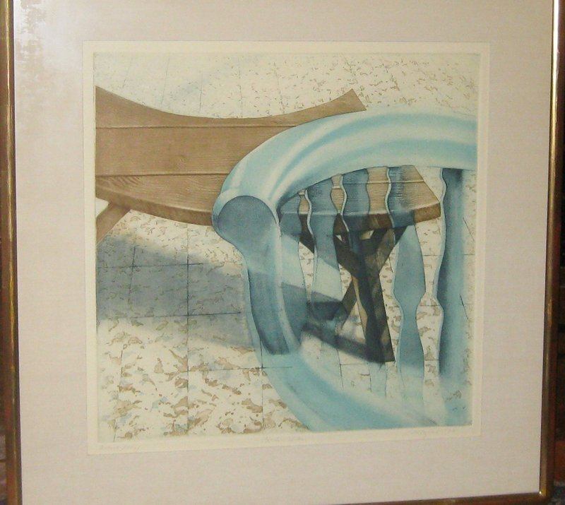 """MICHAEL MAZUR """"BENCH AND CHAIR"""" ARTIST PROOF 1972"""