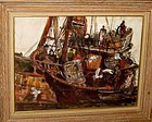 "RUBI ROTH ""FISHING BOATS""  ORIGINAL GOUACHE MCM"